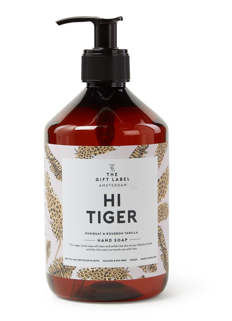 The Gift Label - Hi Tiger It's Spa Time Hand Soap - vloeibare handzeep - Lichtroze
