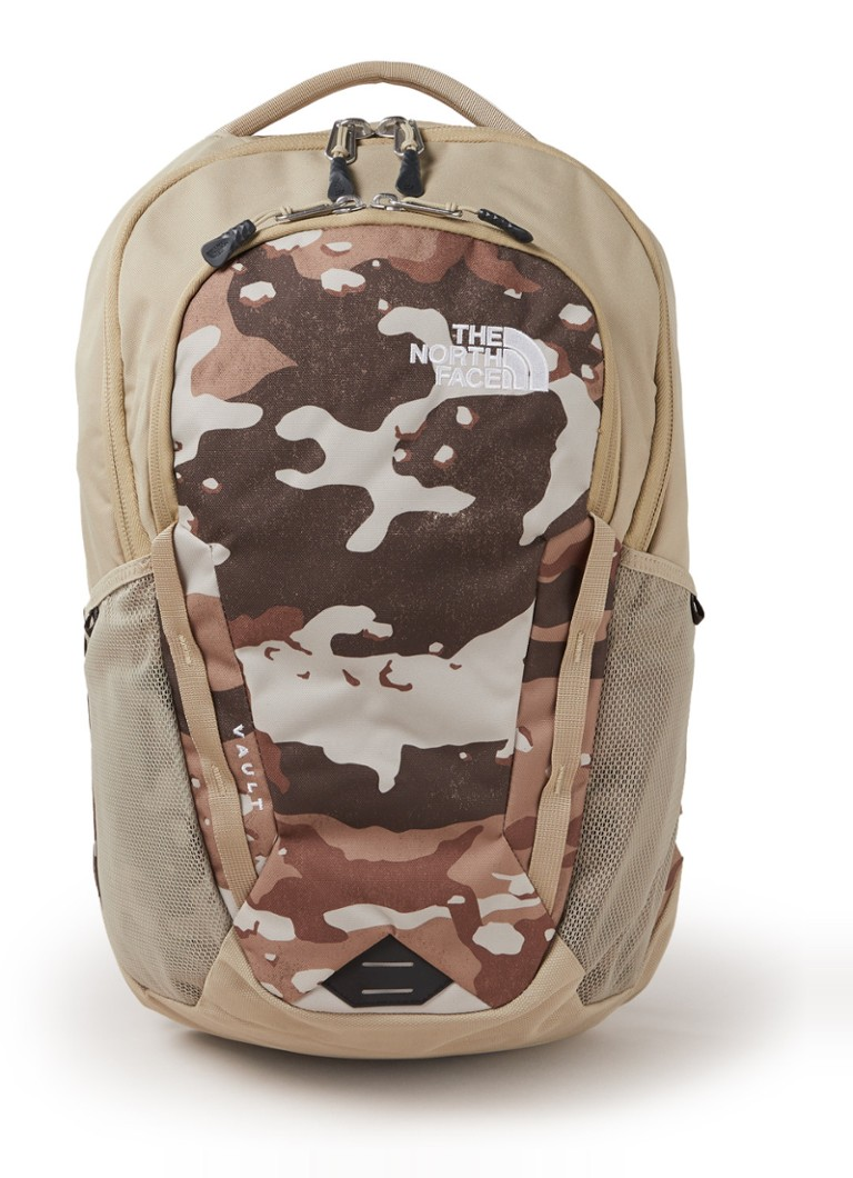 The North Face - Vault rugzak met camouflagedessin en 15 inch laptopvak - Beige