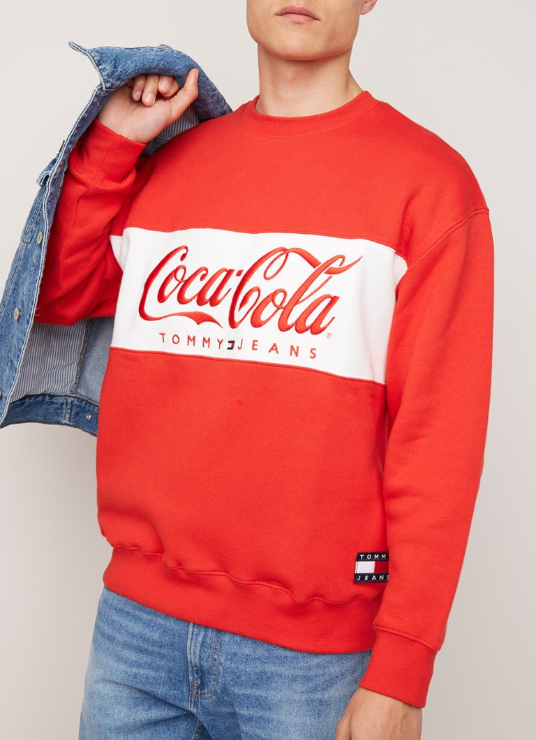 Tommy Hilfiger - Coca cola sweater met logoborduring - Rood