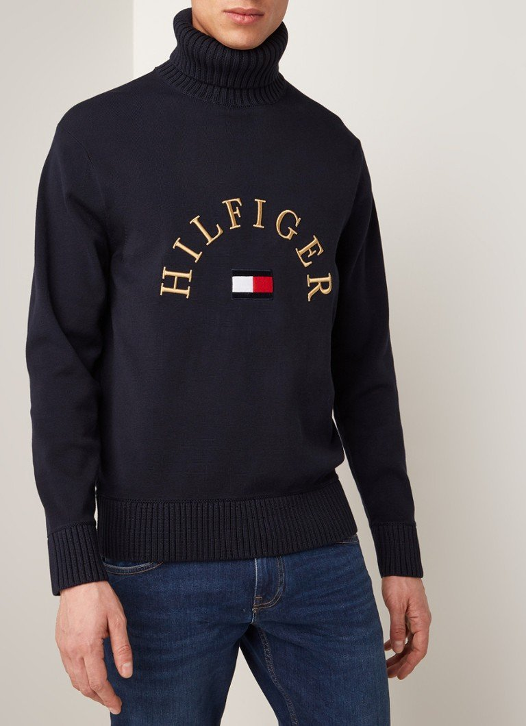 Tommy Hilfiger - Coltrui met logoborduring - Donkerblauw