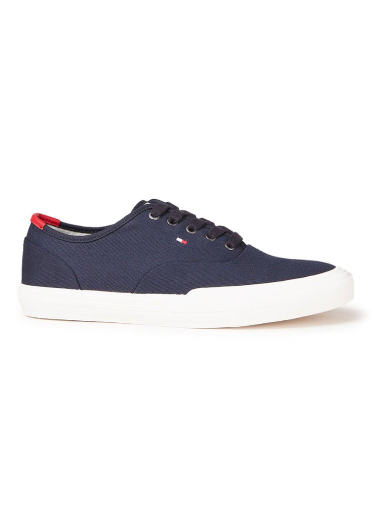 Tommy Hilfiger - Core Oxford sneaker met logoborduring - Donkerblauw