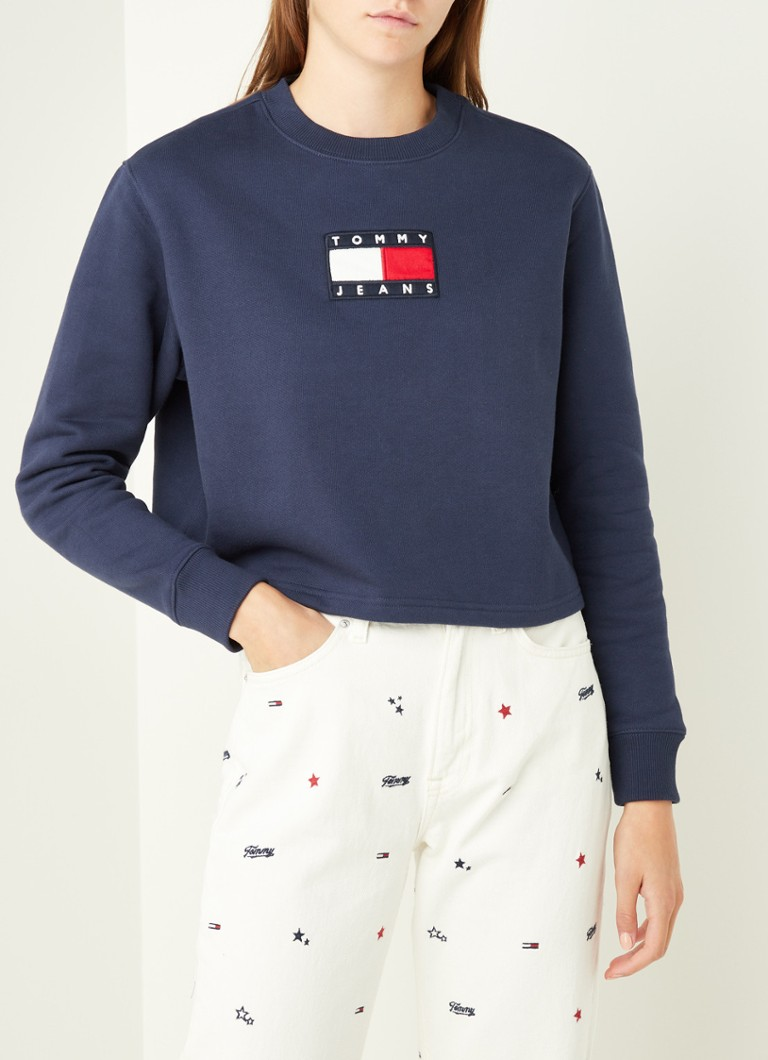 Tommy Hilfiger - Cropped sweater met logoborduring - Donkerblauw