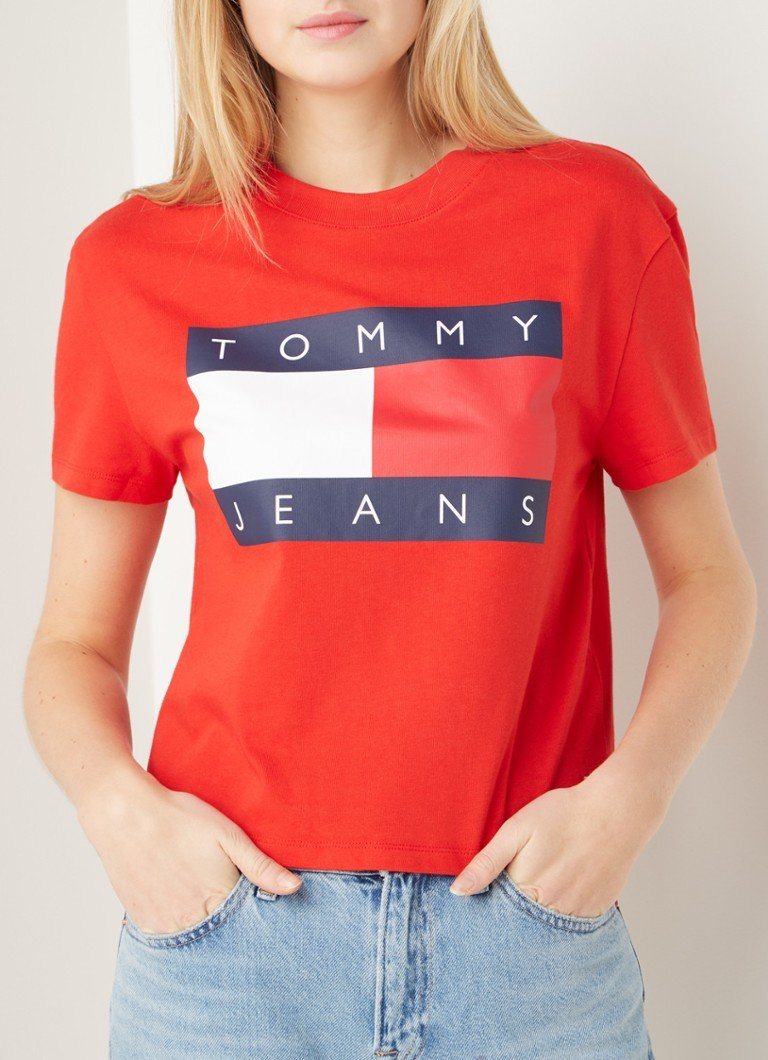 Tommy Hilfiger - Cropped T-shirt met logoprint - Rood