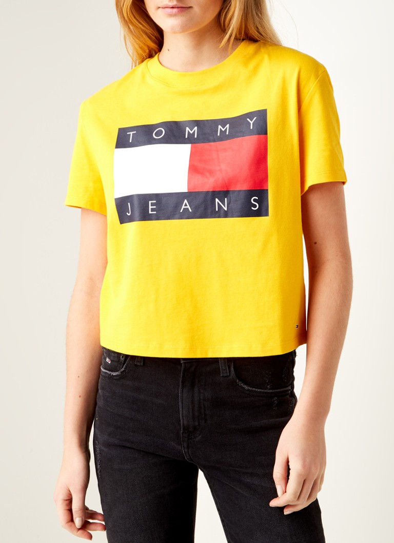 Tommy Hilfiger - Cropped T-shirt met logoprint - Geel