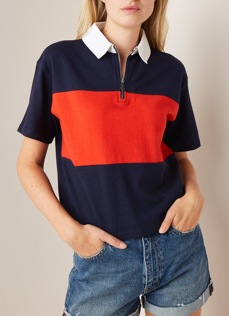 Tommy Hilfiger - Cropped top met colour blocking en polokraag - Donkerblauw
