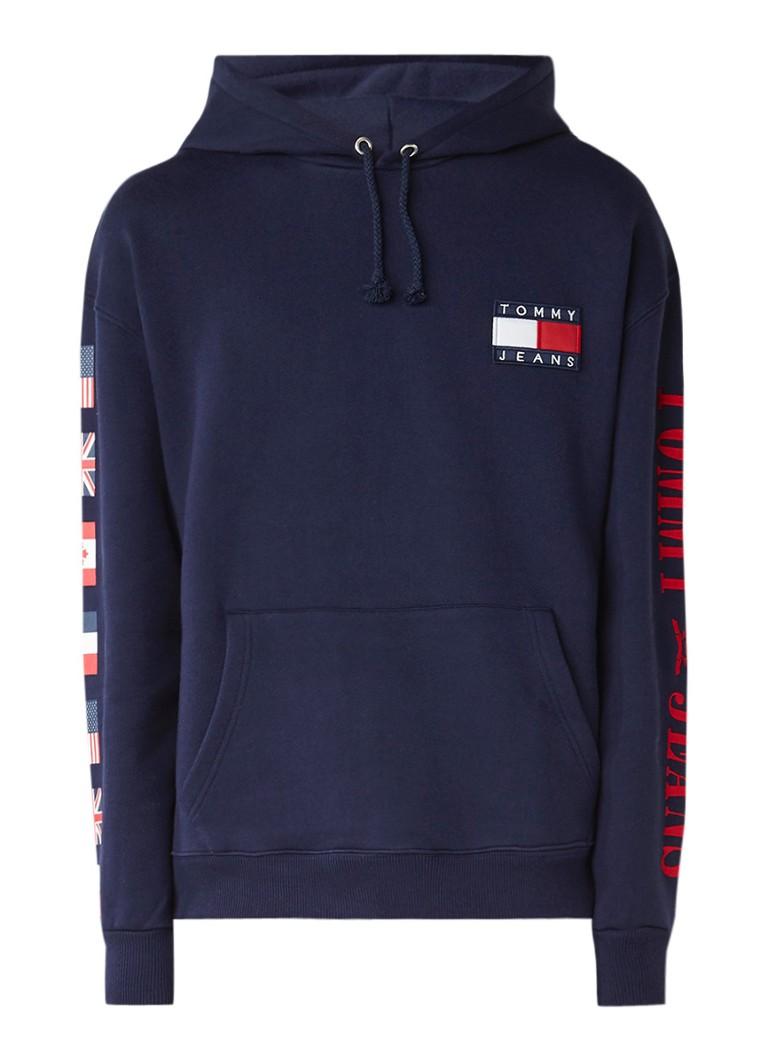 tommy hilfiger hoodie met logo applicaties de bijenkorf. Black Bedroom Furniture Sets. Home Design Ideas