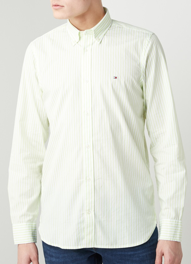 Tommy Hilfiger - Hyper Classic slim fit overhemd met streepdessin - Lime