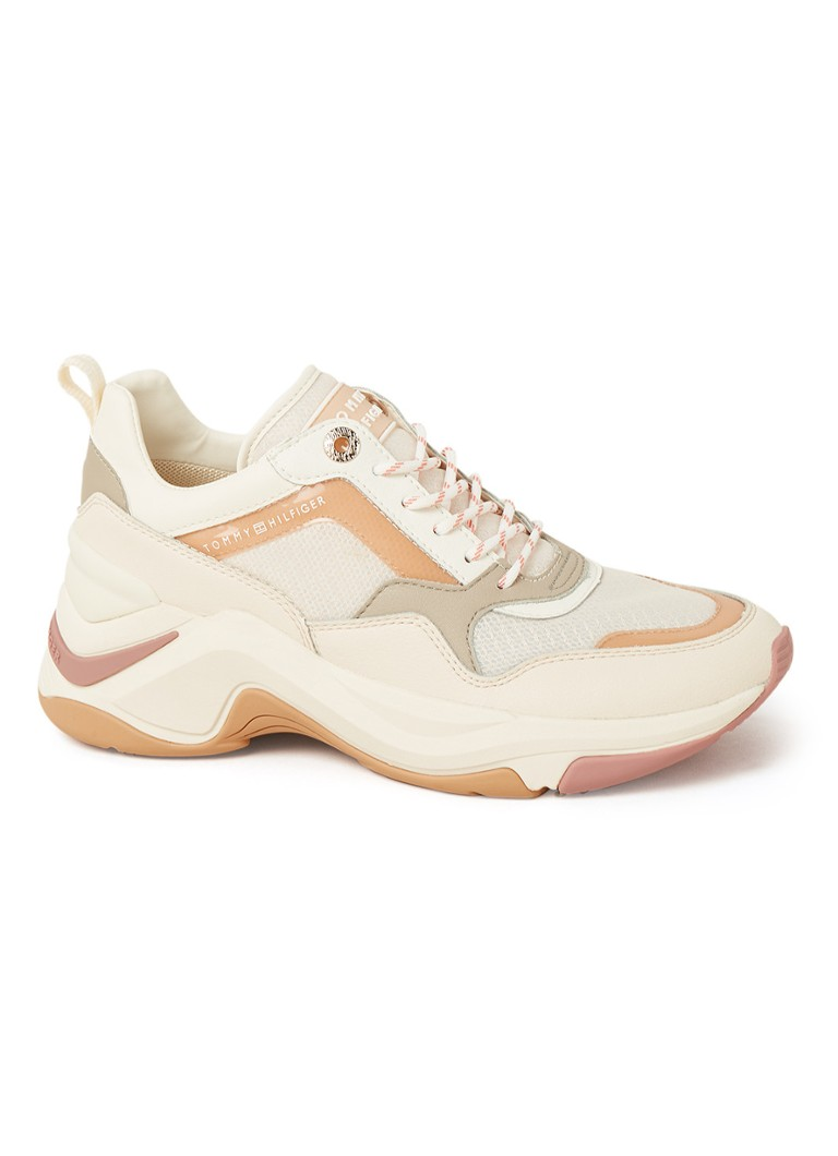 Tommy Hilfiger - Internal sneakerwedge met leren details - Creme