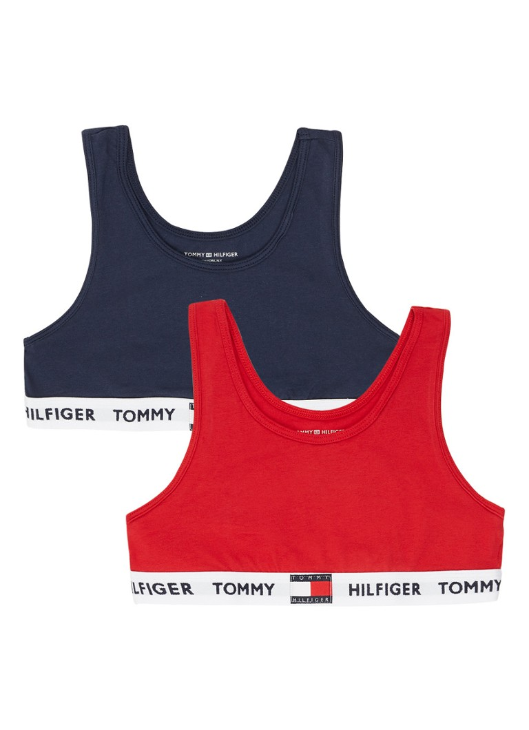 Tommy Hilfiger - Meisjes top met logoband in 2-pack - Donkerblauw