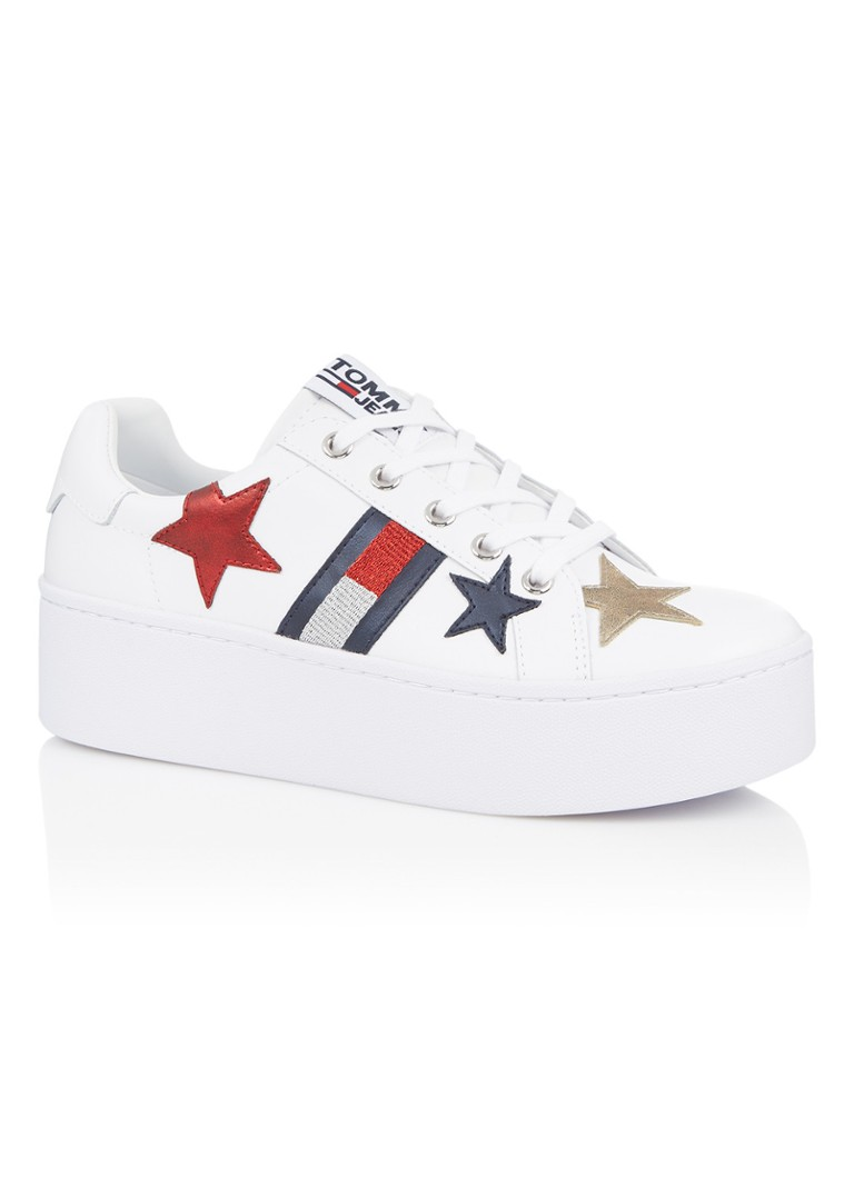 63e8f761 Tommy Hilfiger Platform sneaker van leer met patches • de Bijenkorf