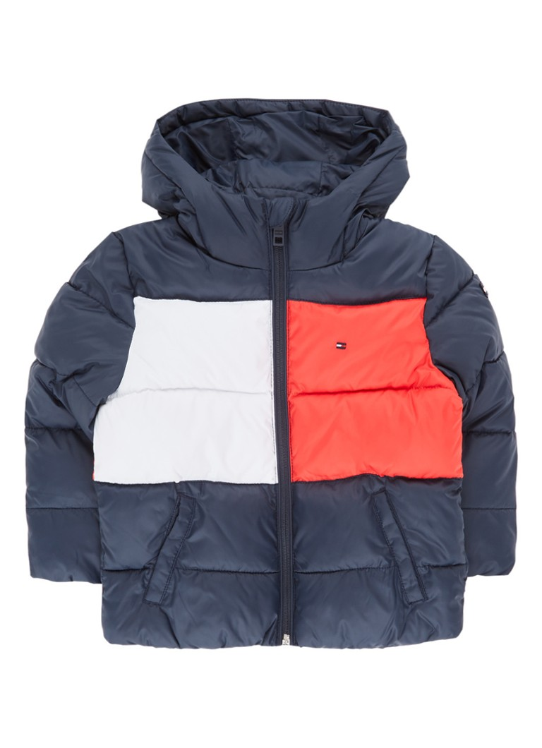 Tommy Hilfiger - Puffer jack met capuchon en colour blocking - Donkerblauw