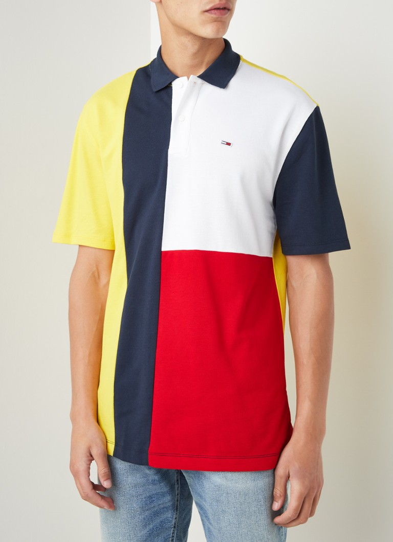 Tommy Hilfiger - Regular fit polo met colourblocking - Geel