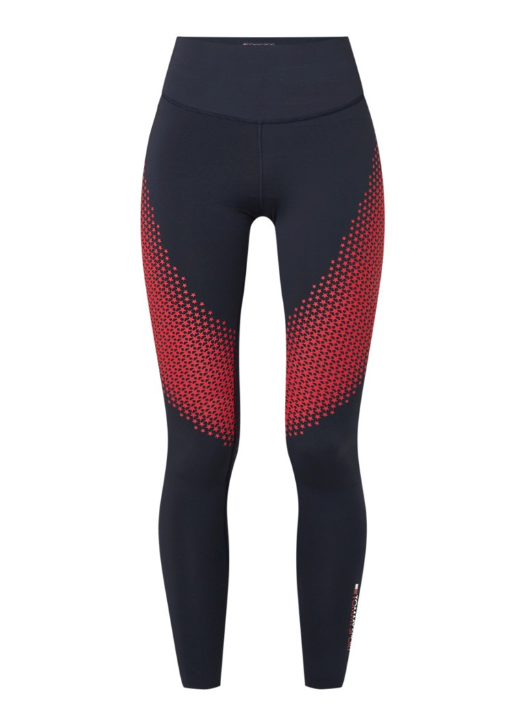 Tommy Hilfiger - Skinnty fit trainings legging met sterrenprint  - Donkerblauw