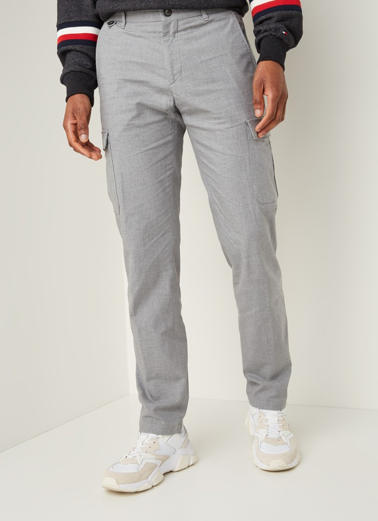 Tommy Hilfiger - Slim fit cargobroek met stretch - Middengrijs