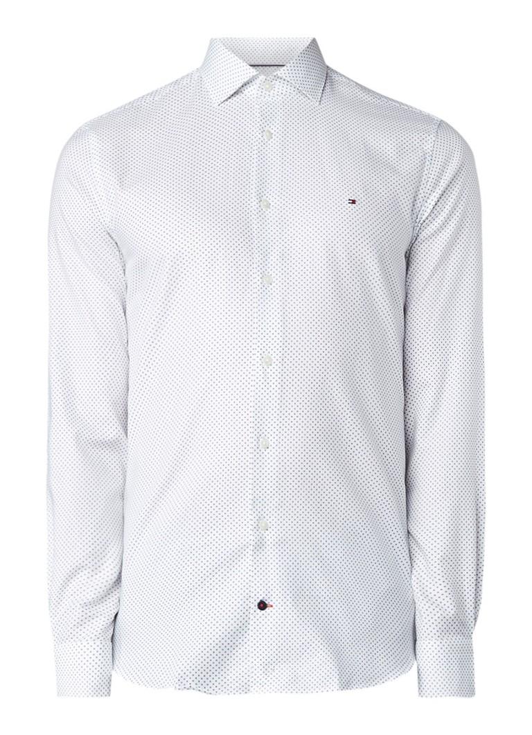 Overhemd Wit Slim Fit.Tommy Hilfiger Slim Fit Overhemd Met Micro Cirkeldessin De Bijenkorf