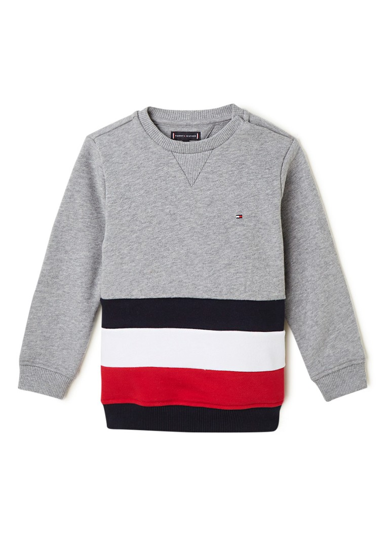 Tommy Hilfiger - Sweater in mêlée met colour blocking - Grijsmele