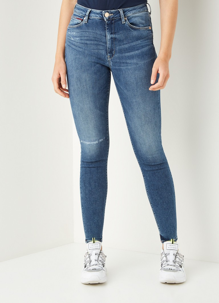 Tommy Hilfiger - Sylvia high waist skinny fit cropped jeans met stretch - Indigo