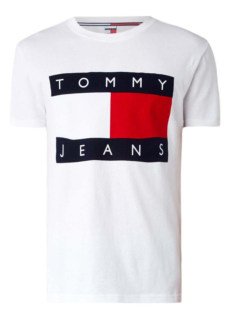 tommy hilfiger t shirt met logo flockprint de bijenkorf. Black Bedroom Furniture Sets. Home Design Ideas