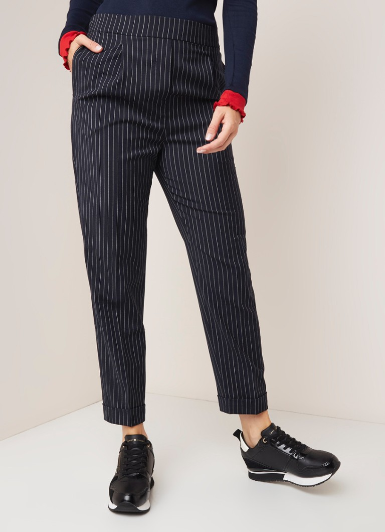 Tommy Hilfiger - Tommy Hilfiger Essential Flex high waist tapered fit pantalon met streepdessin - Zwart