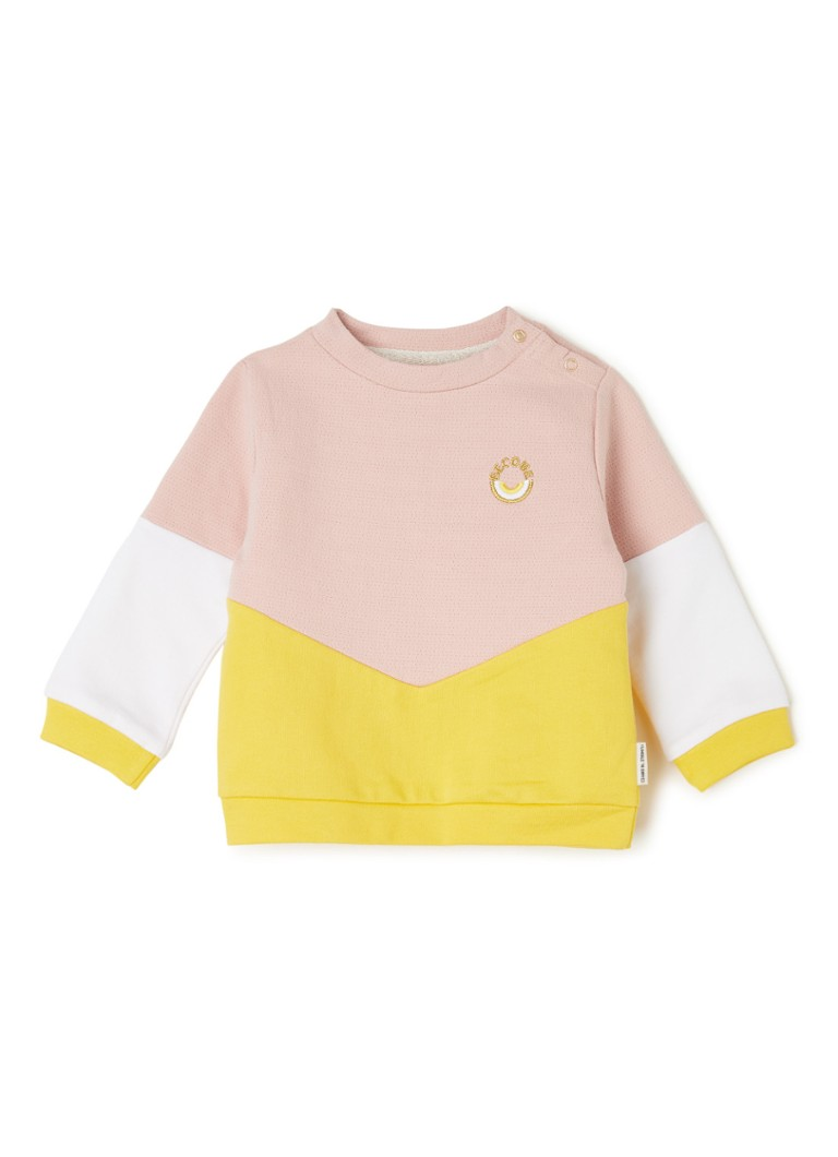 Tumble 'n Dry - Mase sweater met colour blocking - Lichtroze