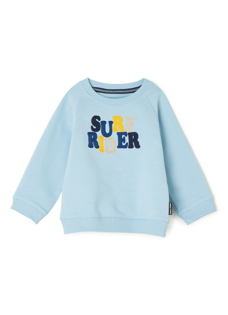 Tumble 'n Dry - Thees sweater met tekstborduring - Lichtblauw