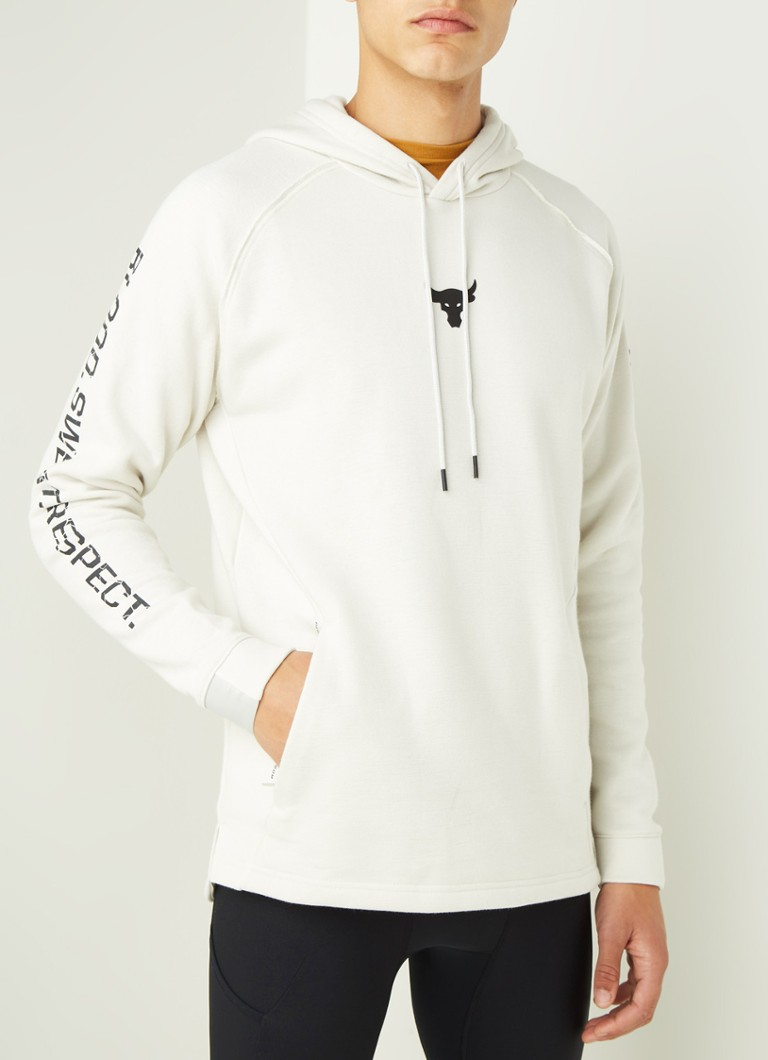 Under Armour - Project Rock trainings hoodie met ColdGear - Gebroken wit