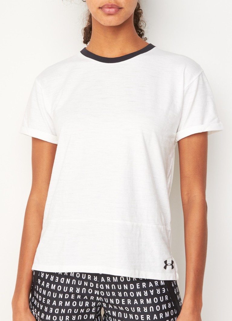 Under Armour - T-shirt van katoen met logoprint - Wit