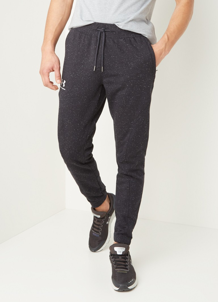 Under Armour - Tapered fit joggingbroek met gemêleerd dessin - Zwart