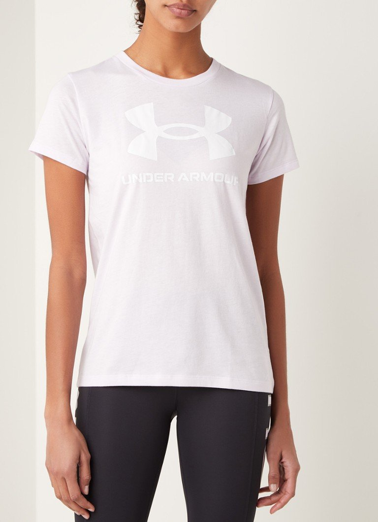Under Armour - Trainings T-shirt met HeatGear en logoprint - Lila