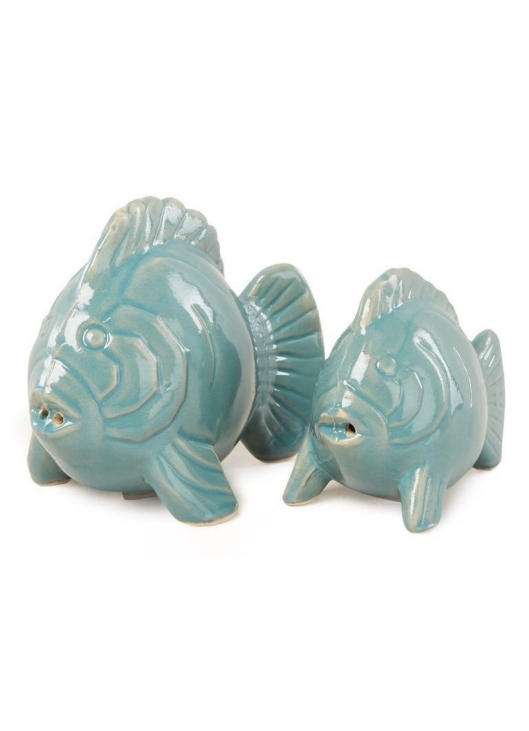 Urban Nature Culture - Lucky Fish peper- en zoutstel 9 cm 2-delig - Blauw