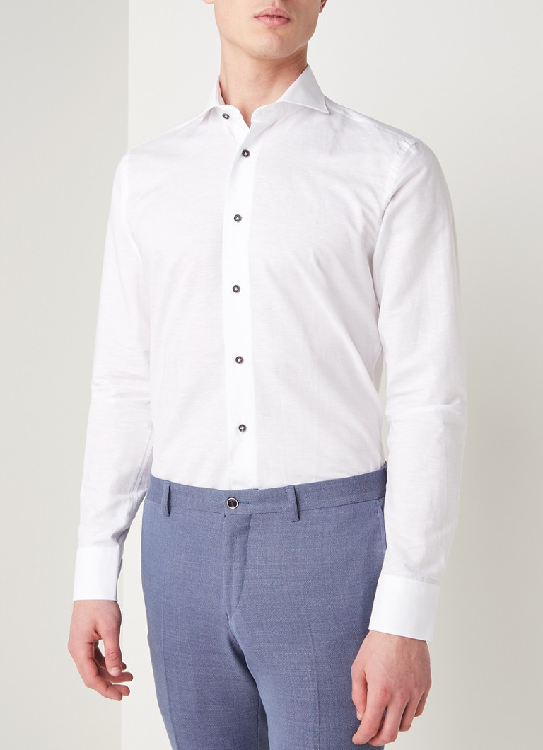 Van Gils - Extreme slim fit overhemd in linnenblend - Wit