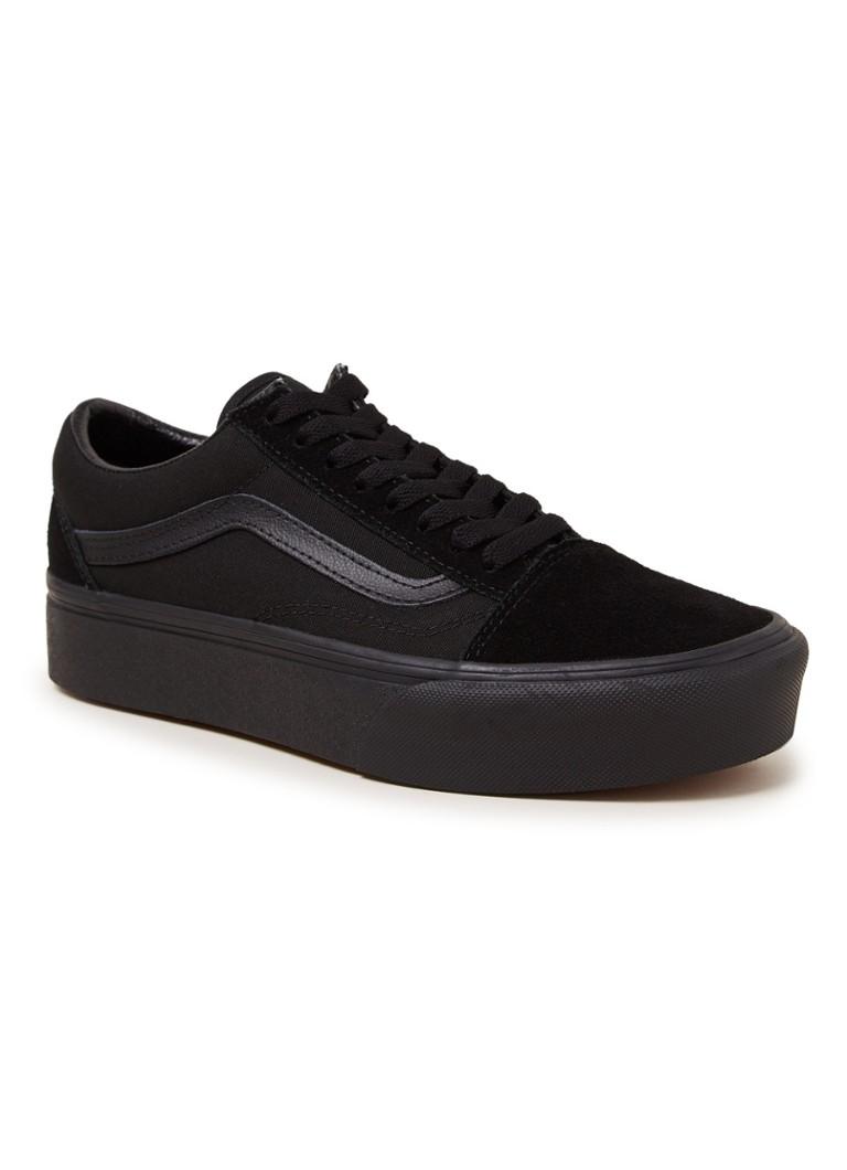 ec5eb0f3320 VANS Old Skool Platform sneaker met leren details • de Bijenkorf