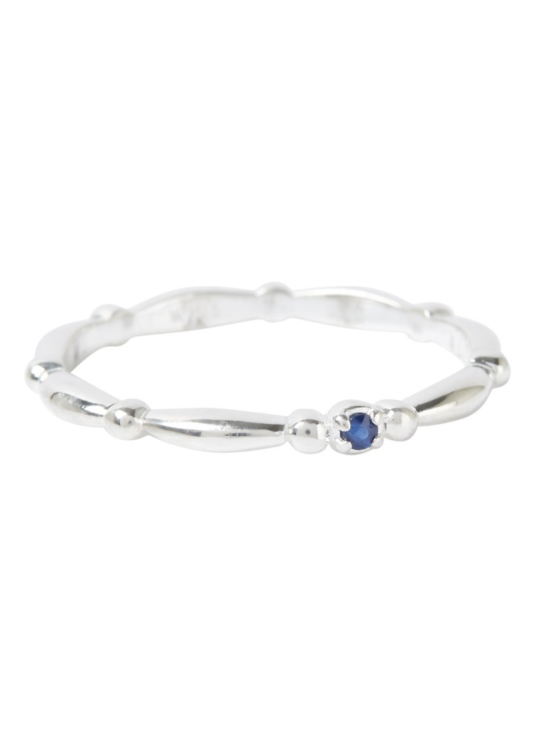 Vedder & Vedder - Royal Birthstone ring September van zilver met saffier - Zilver
