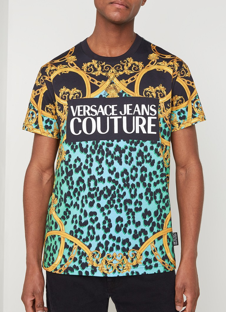 Versace Jeans Couture - Animal Barock T-shirt met logoprint - Mint