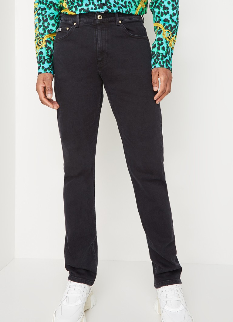 Versace Jeans Couture - Straight fit jeans met backprint - Zwart