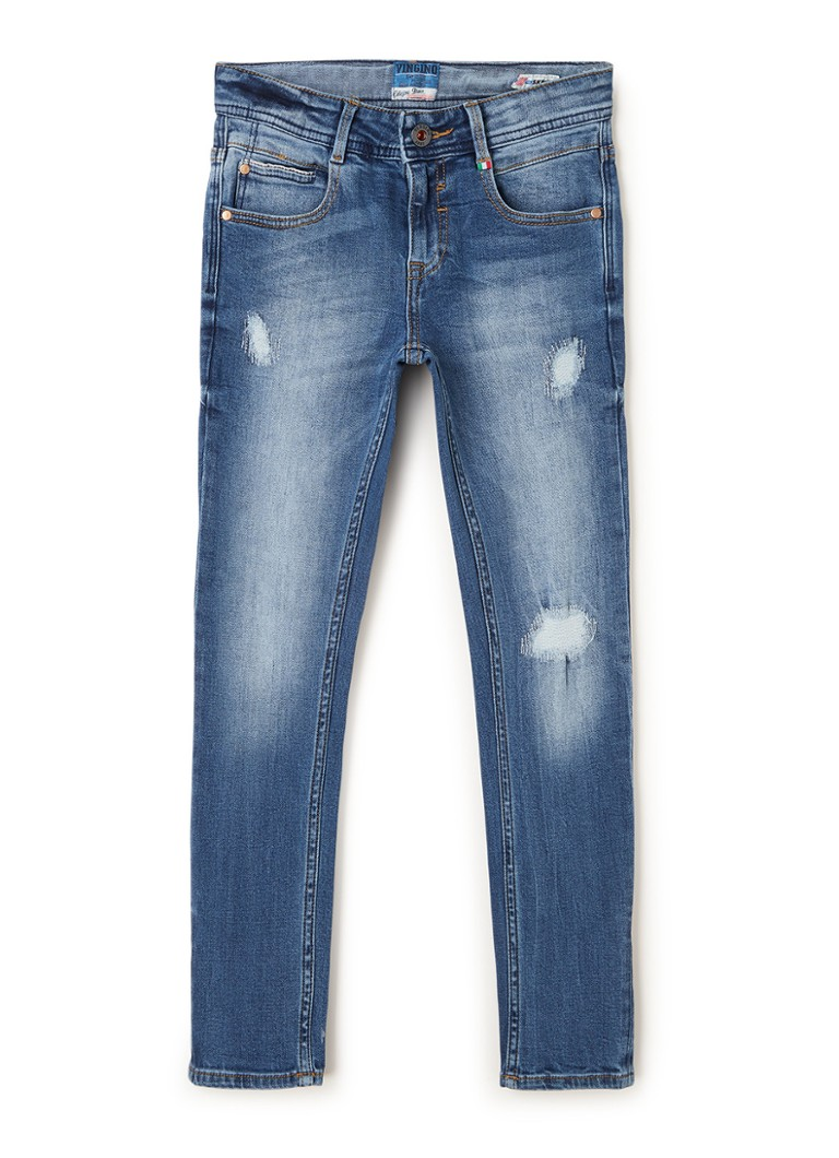 Vingino - Amico skinny fit jeans met ripped details - Indigo