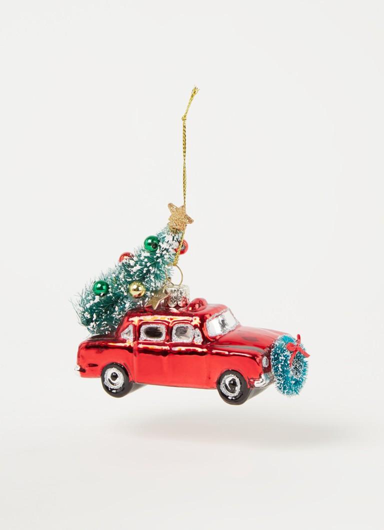Vondels Car With Christmas Tree Auto Met Kerstboom Kersthanger 5 5 Cm Rood De Bijenkorf