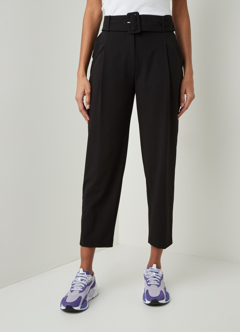 Warehouse - High waist loose fit pantalon met ceintuur - Zwart