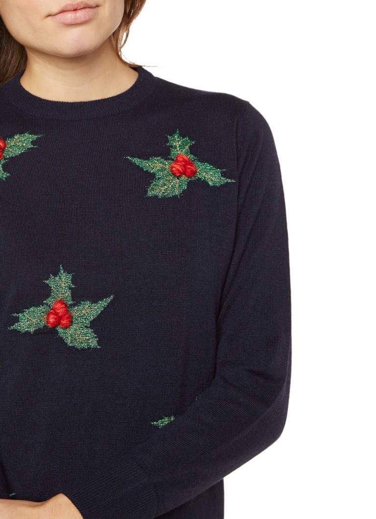 Kersttrui Morgen In Huis.Warehouse Kersttrui Met Hulstbladeren De Bijenkorf