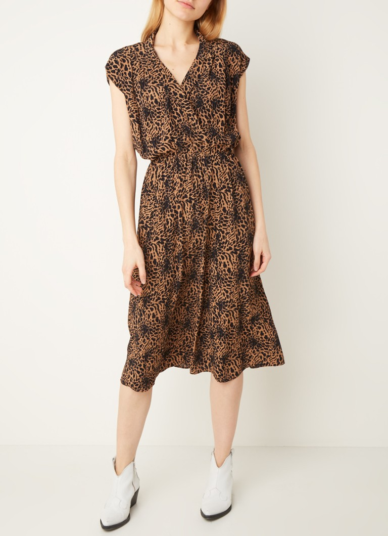 Warehouse - Midi tuniekjurk met animalprint - Zand