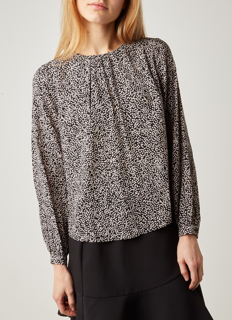 Warehouse - Mini Square blouse met print - Zwart