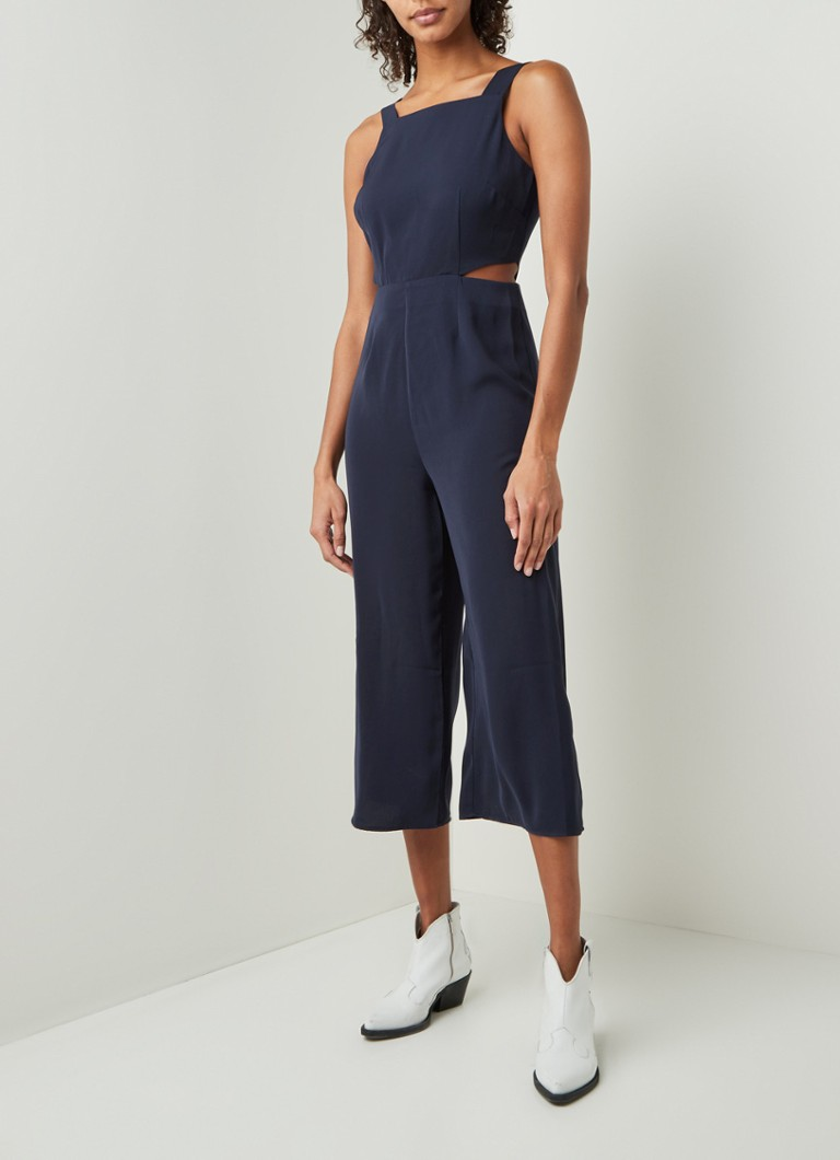 Warehouse - Wide fit cropped jumpsuit met cut-out - Donkerblauw