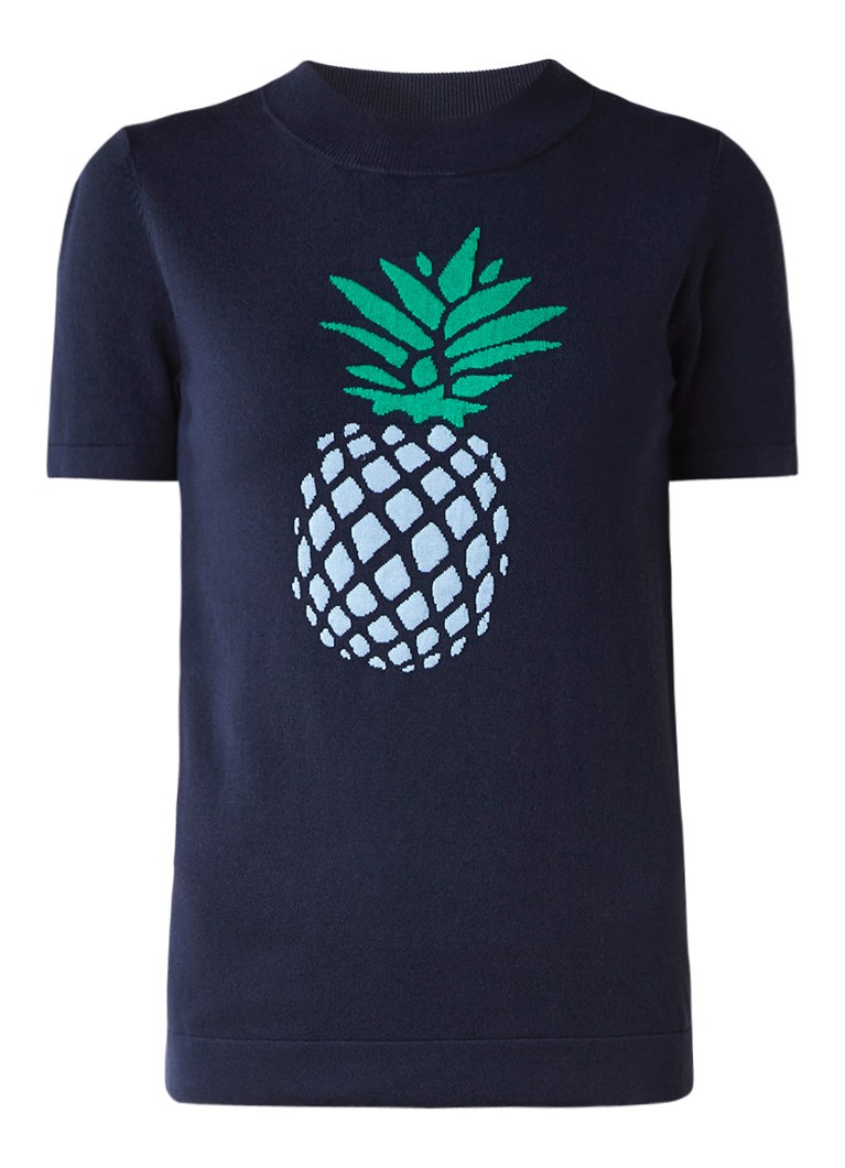WE Fashion Bobby pullover met ingebreid ananas dessin