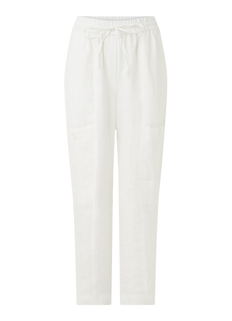 Whistles - High waist straight fit cropped pantalon van linnen - Wit