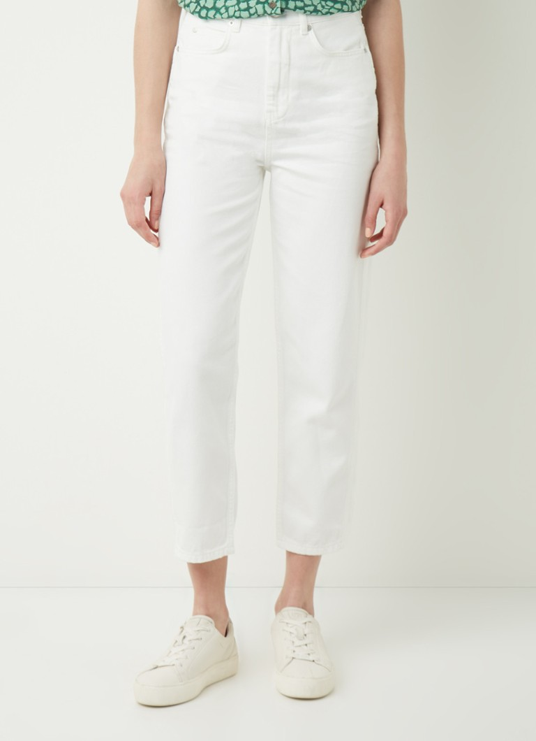 Whistles - High waist tapered fit cropped jeans met gekleurde wassing - Wit
