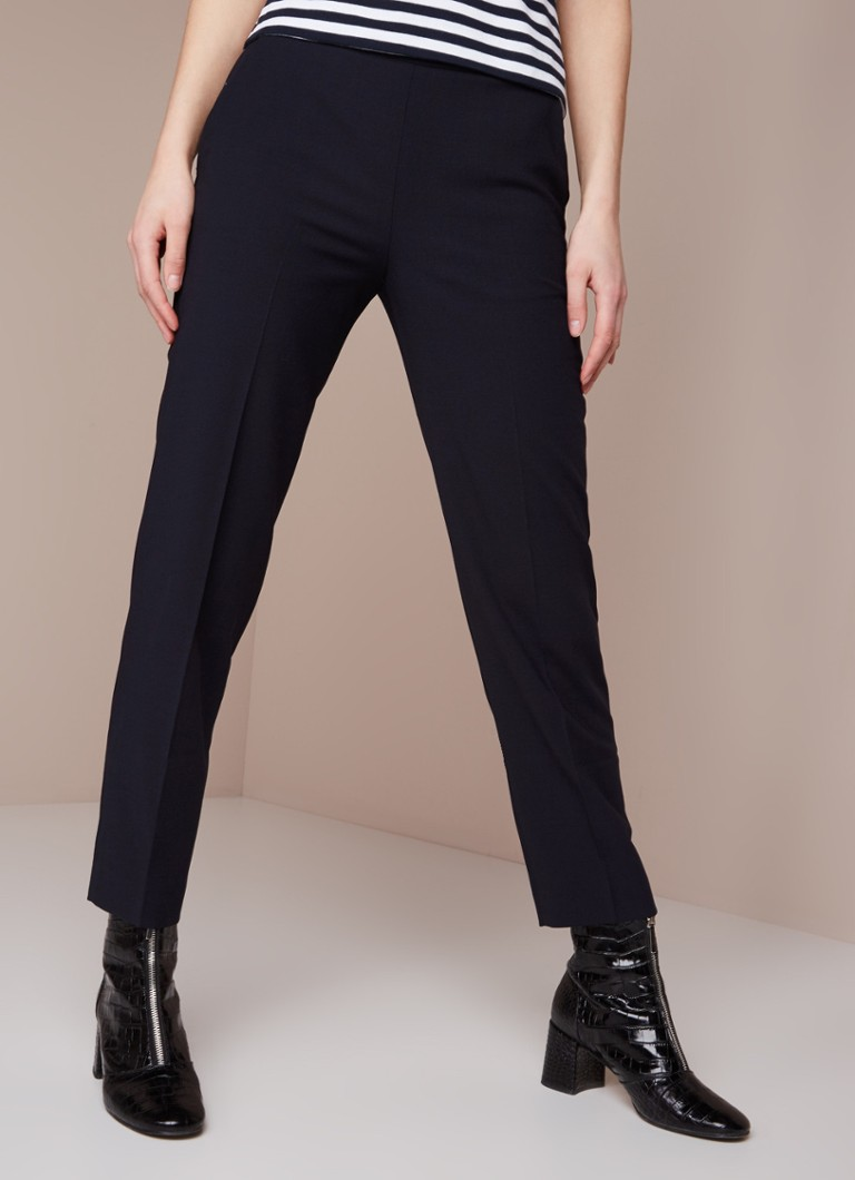 Whistles - Whistles Anna high waist slim fit 7/8 pantalon in wolblend - Donkerblauw