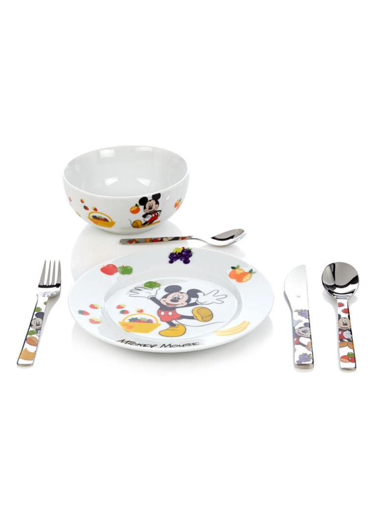 WMF - Micky Mouse kinderservies- en bestekset 6-delig - Wit