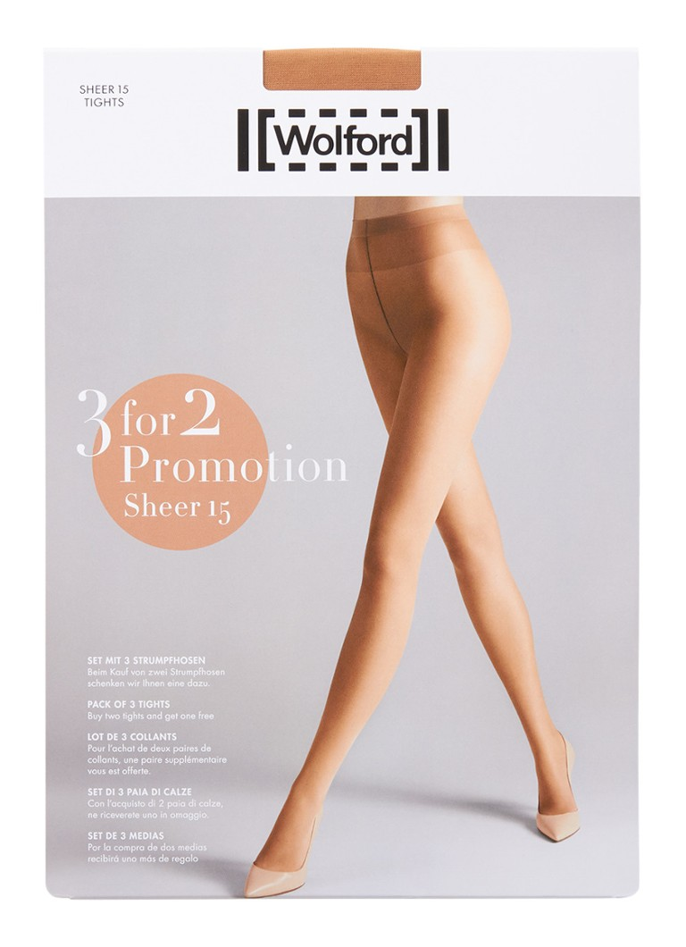 Wolford - Sheer panty in 15 denier 3-pack - donkerbeige
