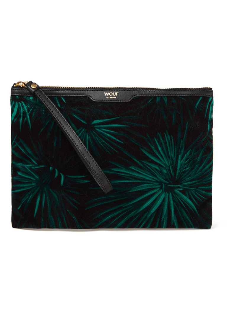 Wouf - Amazon Night clutch met leren details - Donkergroen