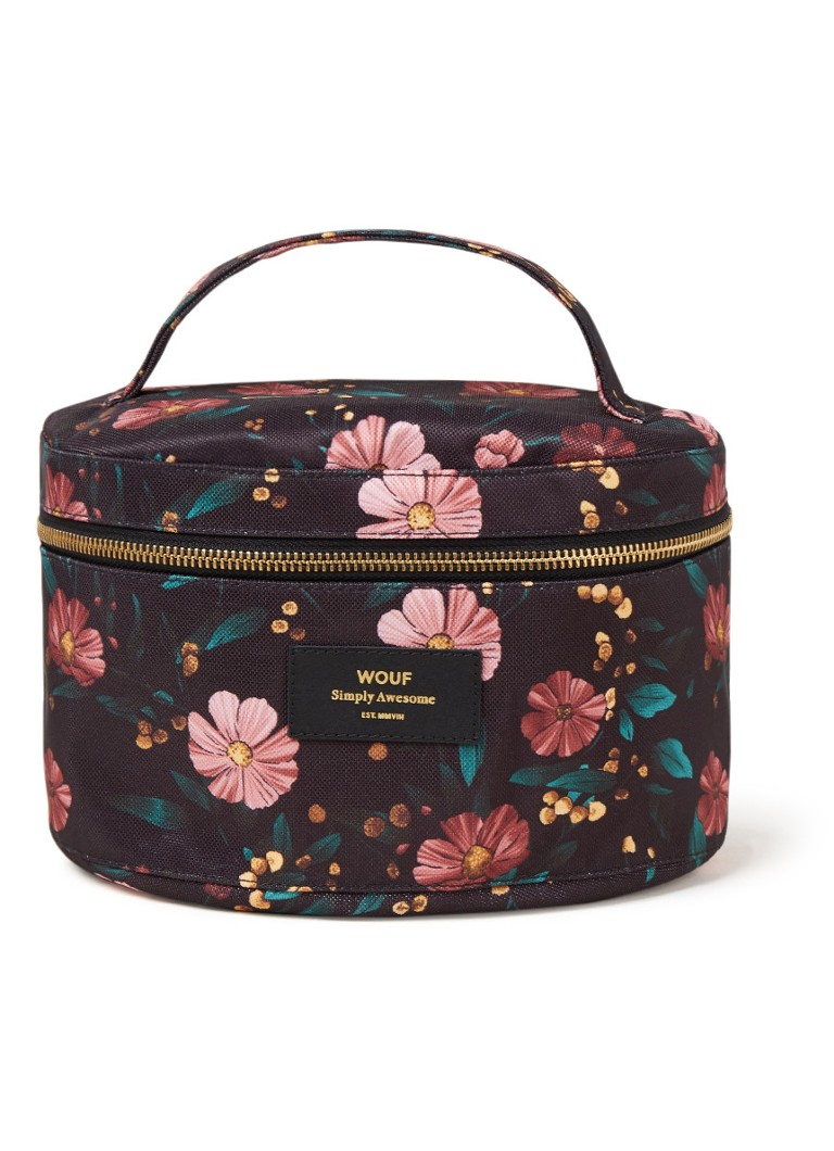 Wouf - Black Flowers XL make-up tas met bloemenprint - Zwart